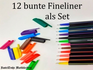 12 bunte Fineliner in Transportbox Filzstifte-Set in 12 Farben, Zeichnen & Skizzieren