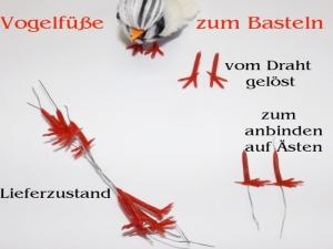 Vogelfüße zum basteln, Rot Gelb Kunststoff mit Schnabel Küken basteln Oster-Dekoration, Osternest, Vogel