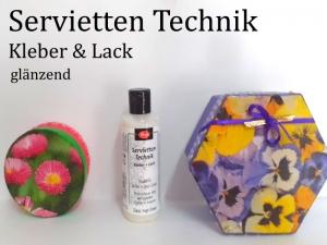 Serviettenlack Serviettenkleber Lack & Kleber für Serviettentechnik glänzend 82 ml transparent trocknend