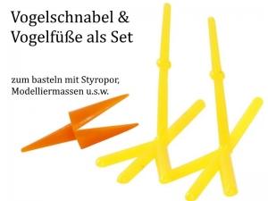 Vogelfüße & Schnabel-Set zum basteln, Gelb Kunststoff Küken basteln Oster-Dekoration, Osternest, Vogel sehr stabil - Handarbeit kaufen