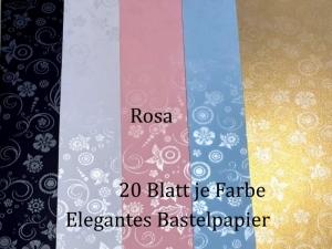 Elegantes Faltpapier in Rosa, Deko-Papier, Bastelpapier perfekt für Karten, schachteln, zum Stanzen uvm