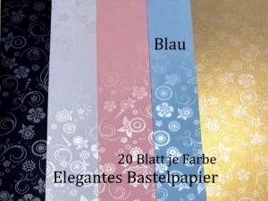 Elegantes Faltpapier in Blau, Deko-Papier, Bastelpapier perfekt für Karten, schachteln, zum Stanzen uvm