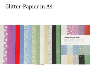 Tolles Glitter-Papier als Block, 30 Bögen, Deko-Papier, Bastelpapier perfekt für Karten & verzieren, Papier-Bastelei