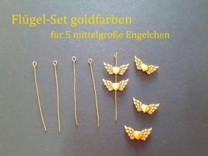Schmuck-Zubehör-Sets zum selber basteln für 5 x mittelgroße Engel, Glücksengel goldfarben Engelsflügel mit Herz