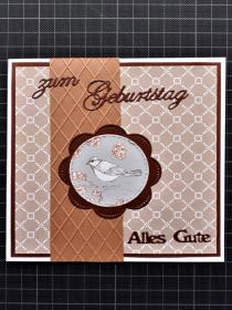 Handgearbeitete elegante Geburtstagskarte, vorwiegend in Brauntönen gearbeitet - Handarbeit kaufen