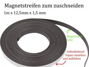 Magnetstreifen zum zuschneiden, Magnetic Stripes 1m x 12,5mm x 1,5mm für Memoboards Kühlschrank-Magnete