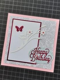 Handgearbeitete elegante Geburtstagskarte, Glückwunschkarte in rosa, grau und weiß