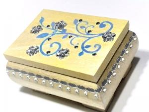 Kleines Schatzkästchen, handbemalte und verzierte Holzschachtel in Gelb, Blau & Silber