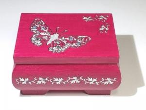 Kleines Schatzkästchen, handbemalte und verzierte Holzschachtel in dunkel Pink mit Schmetterling