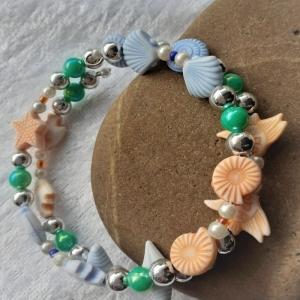 Kinder-Armreifen mit Meerestieren aus Kunststoff, Handarbeit