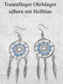 Traumfänger Ohrhänger Ohrringe 7 cm lang Ohr-Schmuck silberfarben mit hellblauen Perlen    - Handarbeit kaufen