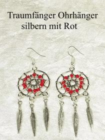 Traumfänger Ohrhänger Ohrringe 7 cm lang Ohr-Schmuck silberfarben mit roten Perlen - Handarbeit kaufen