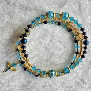 Armreifen in blau und golden mit Libelle, Wickelarmreifen, Handarbeit - Handarbeit kaufen
