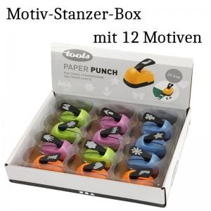 12 Motivstanzer in Box, Motiv-Locher, Mini-Stanzer als 12 tlg. Set, Paper Punch, Papier-Stanzen, Scapbooking Papier-Basteln - Handarbeit kaufen