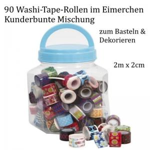 90 Rollen Washi-Tape, bunte Klebstreifen, Zierstreifen, Masking Tape, viele Muster & Motive  - Handarbeit kaufen