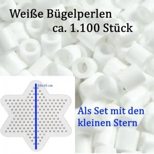 Bügelperlen weiß kleine Tüte –1.100 St. - 5mm, Weiß mit kleinem Stern für Winter-Deko, Walzenperlen  - Handarbeit kaufen