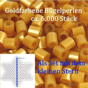 Bügelperlen golden, große Tüte –6.000 St. - 5mm, golden mit kleinem Stern für Winter-Deko, Walzenperlen - Handarbeit kaufen
