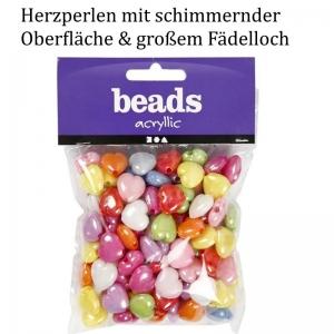 Herz-Perlen für Kinder, bunt & schimmernt  ca. 25 mm groß für Armbänder, Ketten und mehr, aus Kunststoff - Handarbeit kaufen