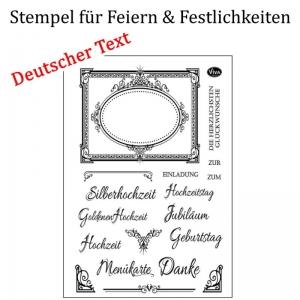 Silikonstempel Deutsche Texte, Clear-Stamper, transparent, Festlichkeiten Einladung Feste, Stempel-Set - Handarbeit kaufen