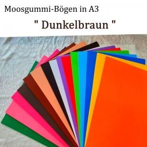 Moosgummi in A3 -- Dunkelbraun -- 27,7 cm x 42 cm x 2mm zum Basteln. Erhältlich in 15 Farben  - Handarbeit kaufen