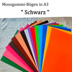 Moosgummi in A3 -- Schwarz -- 27,7 cm x 42 cm x 2mm zum Basteln. Erhältlich in 15 Farben  - Handarbeit kaufen