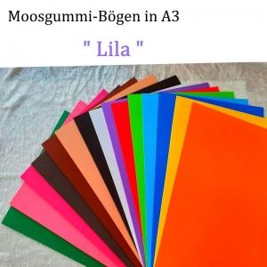 Moosgummi in A3 -- Lila -- 27,7 cm x 42 cm x 2mm zum Basteln. Erhältlich in 15 Farben - Handarbeit kaufen