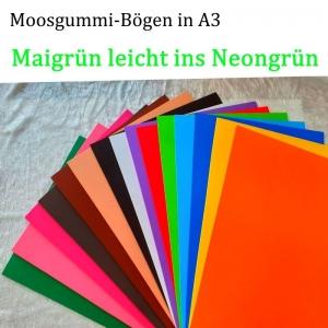Moosgummi in A3 -- Maigrün / leichtes Neon-- 27,7 cm x 42 cm x 2mm zum Basteln. Erhältlich in 15 Farben   - Handarbeit kaufen