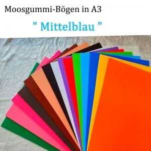Moosgummi in A3 -- Mittelblau -- 27,7 cm x 42 cm x 2mm zum Basteln. Erhältlich in 15 Farben - Handarbeit kaufen