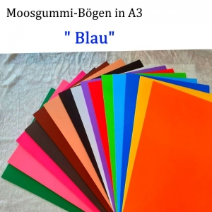 Moosgummi in A3 -- Blau-- 27,7 cm x 42 cm x 2mm zum Basteln. Erhältlich in 15 Farben  - Handarbeit kaufen