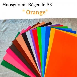 Moosgummi in A3 -- Orange -- 27,7 cm x 42 cm x 2mm zum Basteln. Erhältlich in 15 Farben - Handarbeit kaufen