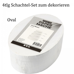Pappschachtel-Set 4tlg, Geschenkboxen, Oval zum gestalten und verzieren, Stabiles Material - Handarbeit kaufen