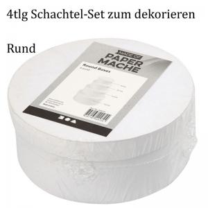 Pappschachtel-Set 4tlg, Geschenkboxen, Rund Hutschachtelzum gestalten und verzieren, Stabiles Material - Handarbeit kaufen