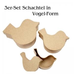 Pappschachtel-Set 3tlg, Geschenkboxen, Vogelform zum gestalten und verzieren, Stabiles Material  - Handarbeit kaufen