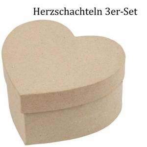 Pappschachtel-Set 3tlg, Geschenkboxen, Herzform zum gestalten und verzieren, Stabiles Material Schachtel / Box - Handarbeit kaufen