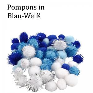 Pompons Plüsch & Glitzer Bommeln zu basteln, 15-20 mm Blau / Weiße Mischung ca. 48 Stück - Handarbeit kaufen