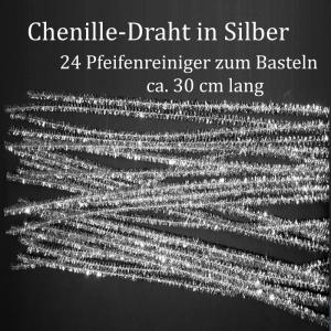 Chenille-Draht, Pfeifenreiniger, Plüschdraht,Biegedraht in silbern, 24 Stück Basteldraht - Handarbeit kaufen