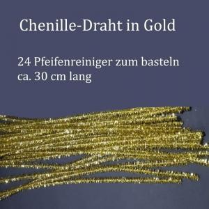 Chenille-Draht, Pfeifenreiniger, Plüschdraht, Biegedraht in golden, 24 Stück, Basteldraht - Handarbeit kaufen