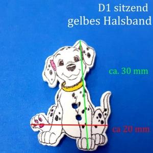 Kinderknopf / Knöpfe aus lackiertem Holz > aus 101 Dalmatiner  D1, Hund, Hündchen, Welpe, Zierknopf - Handarbeit kaufen