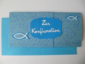 Gutscheinverpackung zur Konfirmation um einen Geldschein zu verpacken