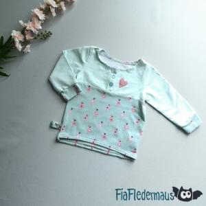 Selbstgenähtes Babyshirt mit Flamingos in Größe 74 kaufen   - Handarbeit kaufen