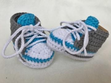 gehäkelte Babysneakers 2.0 Babyschuhe - 8 cm Sohlenlänge (Neugeborene) - sofort lieferbar