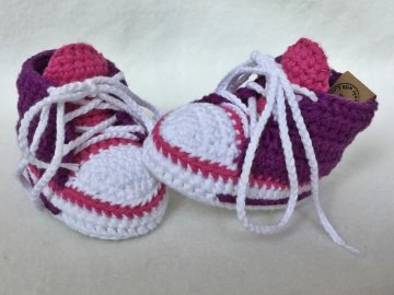 gehäkelte Babysneakers 2.0 Babyschuhe - 9 cm Sohlenlänge (0-3 Monate) - sofort lieferbar