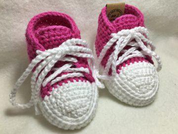gehäkelte Babysneakers 3.0 Babyschuhe - 9 cm Sohlenlänge (0-3 Monate) - sofort lieferbar