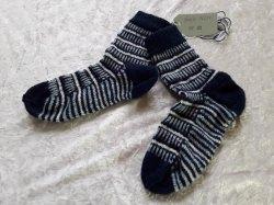 Socken Gr. 36/37 mit blauem Muster