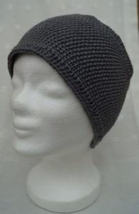 Stirnband in grau, Merino, mit Knopf, handgestrickt