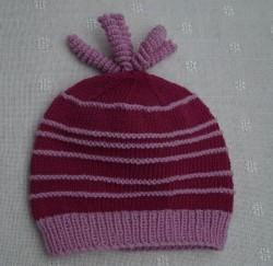Kindermütze in pink und rosa, handgestrickt, Merino