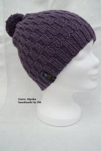 Damenmütze aus Alpakagarn, mit abnehmbarem Bommel, lila heather
