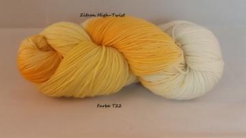 Zitron High Twist, handgefärbte Sockenwolle, jeder Strang ein Unikat