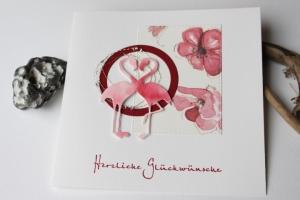 Glückwunschkarte zur Hochzeit - Flamingo