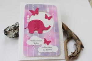 Glückwunschkarte zur Geburt - Elefant und Schmetterlinge